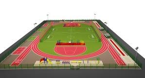 Modelo del campo de deporte 3d aislada en blanco Imagen de archivo libre de regalías