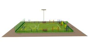Modelo del campo de deporte 3d aislada en blanco Fotografía de archivo