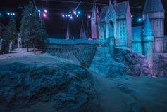 Modelo del castillo de Hogwarts en Warner Bros Studios foto de archivo
