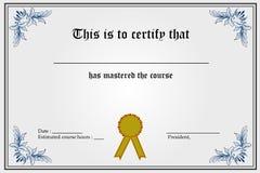 Modelo del certificado Foto de archivo libre de regalías