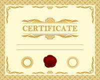 Modelo del certificado. Imagen de archivo libre de regalías