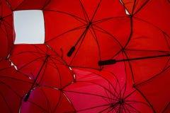 Fondo rojo del paraguas Fotos de archivo