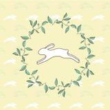 Modelo del conejo con el marco de las hojas stock de ilustración
