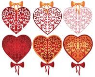 Modelo del corazón de la tarjeta del día de San Valentín Fotos de archivo