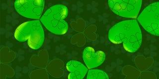 Modelo del día del ` s de St Patrick con el verde cuatro y tréboles de la hoja del árbol en fondo verde Ilustración del vector Pa libre illustration