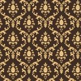 Modelo del damasco de Brown y del oro Foto de archivo libre de regalías