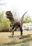 Modelo del dinosaurio del Saltriosaurus en parque temático al aire libre fotos de archivo