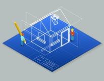 Modelo del diseño arquitectónico que dibuja 3d ilustración del vector