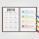 Modelo del diseño de Infographics Abra el cuaderno con el calendario y prográmelo Foto de archivo