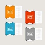 Modelo del diseño de Infographics Concepto del negocio con cuatro opciones Foto de archivo libre de regalías