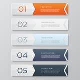 Modelo del diseño de Infographics Concepto del negocio con 5 opciones Imágenes de archivo libres de regalías