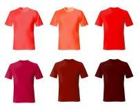 Modelo del diseño de la camiseta Color rojo de las camisas determinadas de los hombres Moda masculina de la maqueta del modelo re ilustración del vector