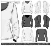 Modelo del diseño de la camiseta de las mujeres. Funda larga Fotos de archivo libres de regalías
