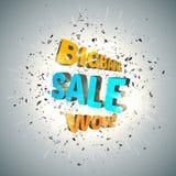 Modelo del diseño de la venta Cartel de la venta de Bigbang con la nube de la explosión de pedazos negros ululación Foto de archivo