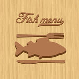Modelo del diseño del restaurante del menú de los pescados Foto de archivo libre de regalías