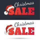 Modelo del diseño del vector Texto de la venta de la Navidad para la promoción en fondo oscuro y blanco Fotos de archivo