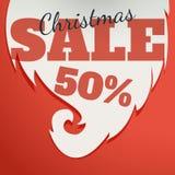 Modelo del diseño del vector Texto de la venta de la Navidad para la promoción en fondo rojo Imagen de archivo libre de regalías