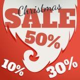 Modelo del diseño del vector Texto de la venta de la Navidad para la promoción en fondo rojo Foto de archivo libre de regalías