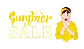 Modelo del dise?o de la venta del verano Pin encima de la muchacha guau Mujer sorprendida Retrato en estilo retro stock de ilustración