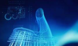 Modelo del edificio de la arquitectura en la construcción de la tecnología stock de ilustración