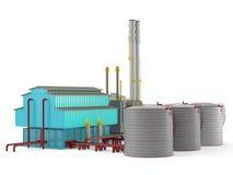 Modelo del edificio de la fábrica con el tanque de almacenamiento de aceite