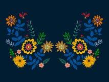 Modelo del escote del bordado con las flores étnicas libre illustration