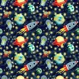 Modelo del espacio con los planetas y el cohete libre illustration