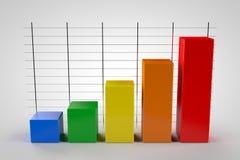 Modelo del gráfico de negocio 3d en el fondo blanco Fotos de archivo libres de regalías