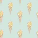 Modelo del helado del vintage Textura dibujada mano de los conos de helado del vector Fotos de archivo