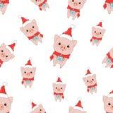 Modelo del invierno con los cerdos ilustración del vector