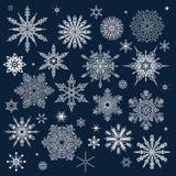 Modelo del invierno con los diversos copos de nieve que caen Fotos de archivo libres de regalías