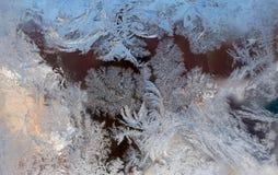 Modelo del invierno sobre el vidrio Imágenes de archivo libres de regalías