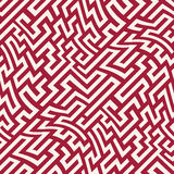 Modelo del laberinto de la geometría del extracto del gráfico de vector fondo geométrico inconsútil rojo Imagenes de archivo