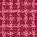 Modelo del laberinto de la geometría del extracto del gráfico de vector fondo geométrico inconsútil rojo del laberinto Fotos de archivo