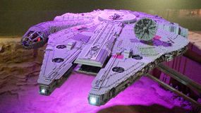 Modelo del lego del halcón de Star Wars Millenniun Imagen de archivo libre de regalías
