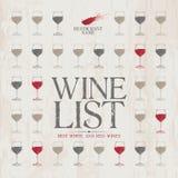 Modelo del menú de la lista de vino. Imagen de archivo libre de regalías