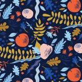 Modelo del otoño con las hojas, las bayas, las flores y las manzanas ilustración del vector
