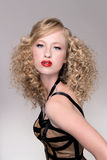 Modelo del pelo de la moda del salón Fotografía de archivo