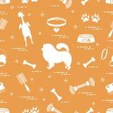 Modelo del perro del chow-chow de la silueta, cuenco, hueso, cepillo, peine, a stock de ilustración