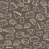 Modelo del queso Fondo inconsútil con diverso queso dibujado mano Imagenes de archivo