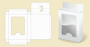 Modelo del rectángulo empaquetado Caja de cartón blanca Caja blanca abierta del paquete de la cartulina Fotografía de archivo libre de regalías