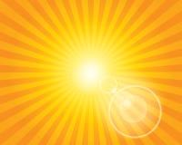 Modelo del resplandor solar de Sun con la llamarada de la lente. Imagen de archivo libre de regalías