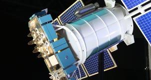 Modelo del satélite de la tierra s en el espacio almacen de video