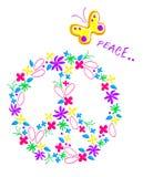 Modelo del signo de la paz, gráficos para los niños, impresión de la camiseta ilustración del vector