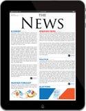Modelo del sitio de las noticias en iPad Fotos de archivo libres de regalías