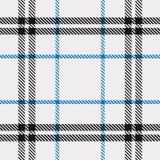 Modelo del tartán en azul, blanco y negro Textura para la tela escocesa, manteles, ropa, camisas, vestidos, papel, lecho, mantas, ilustración del vector