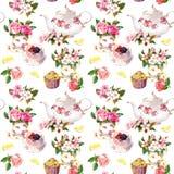Modelo del Teatime: flores, taza de té, torta, tetera watercolor Fondo inconsútil Imagen de archivo
