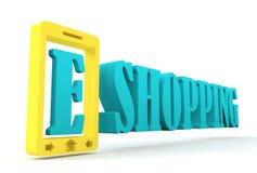 Modelo del teléfono móvil y texto de las compras de E Imagen de archivo libre de regalías