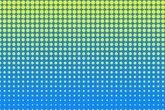 Modelo del tono medio del lunar Círculos amarillos, puntos en fondo azul Ilustración del vector stock de ilustración