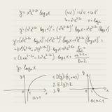 Modelo del vector con fórmulas matemáticas Imagen de archivo libre de regalías